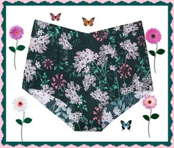 L  Teal BOHO Floral NO SHOW Edge Victorias Secret High Waist Midi Brief ... - $10.99