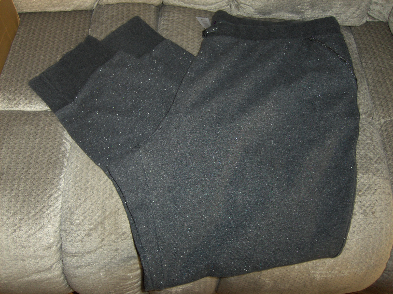 Beverly Drive Womens Gray Pants 24 - 26 With Silver Sparkle Comfort & Bling Too