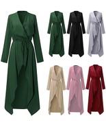 S-XXXL Women Ladies Long Sleeve Maxi Long Sleeve Waterfall Belted Duster... - $26.52