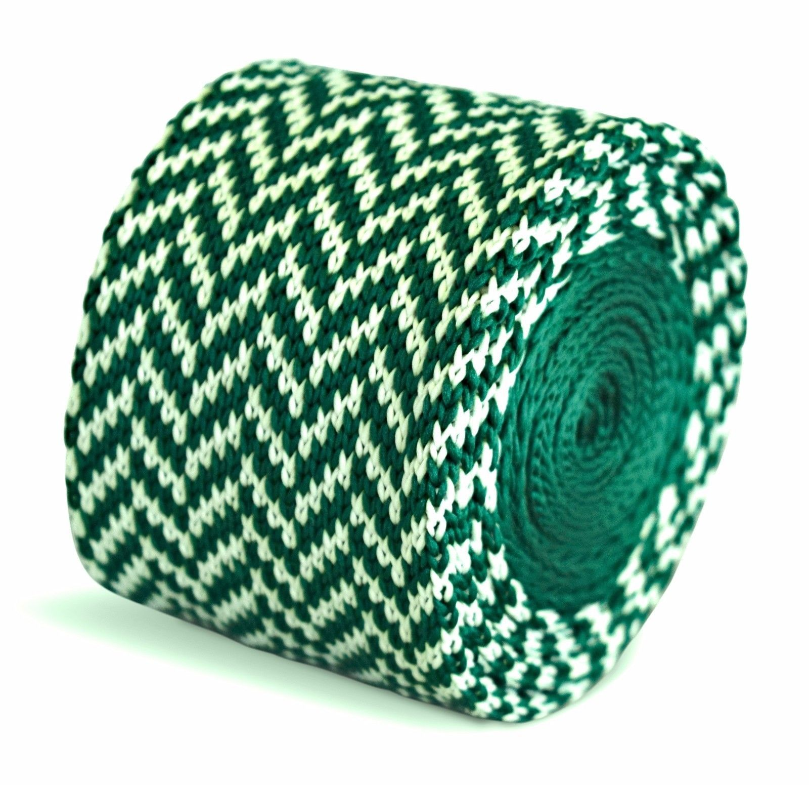 Frederick Thomas Knitted Skinny Green and White Herringbone Tie FT3306