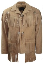 Men's New Beige Western Native American Suede Cow Leather Fringe Jacket ... - $117.00+