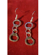 Handcuff Earrings Fifty Shades Front Facing.Fetish Goth Emo Punk - $3.87