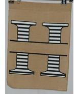 Kate Winston Brand Brown Burlap Monogram Black White H Garden Flag - $14.99
