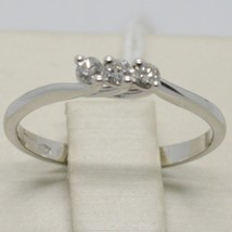 White Gold Ring 750 18K Trilogy with Diamonds TCW 0.12 Made in Italy image 1