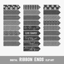 Chalkboard Style Ribbon Ends, Arrows and Flags - Digital Clip Arts, CU4CU - $4.50