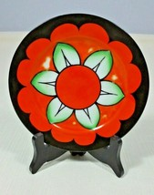 Vintage Meito Lustreware Hand Painted 6 1/2 Inch Plate Black and Orange ... - $14.99