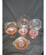 7 Pcs Pink Depression Glass Lot Assorted Patterns Pieces AS IS - $12.49