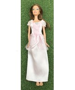 Barbie With Fancy Pink Princess Dress. Brown Brunette With Bright Blue E... - $7.60
