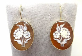 14k Gold Genuine Natural Shell Cameo Floral Bouquet Earrings (#3636) - $513.00