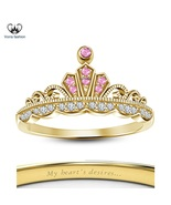 14k Gold Finish Solid Sterling Silver Disney Princess Aurora Women's Cro... - £39.63 GBP