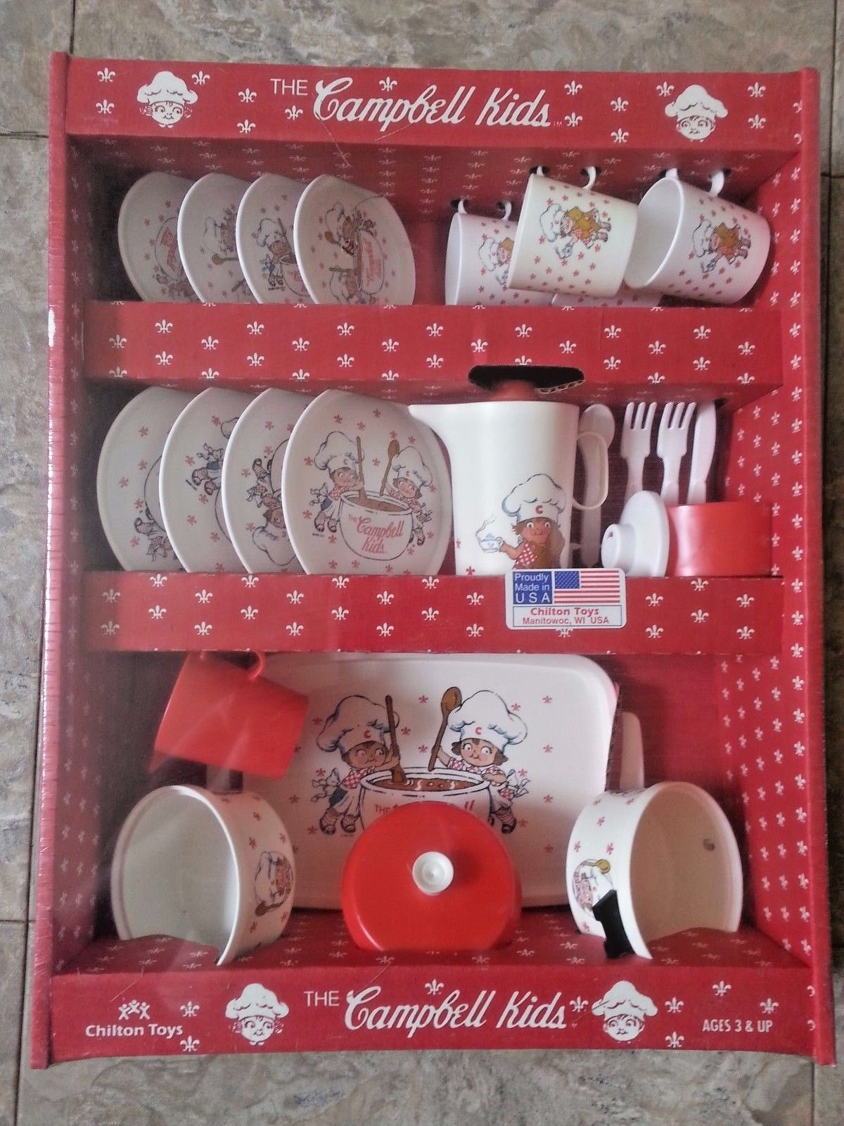 Vintage Chilton Toys The CAMPBELL KIDS dinner play set food Children Made in USA