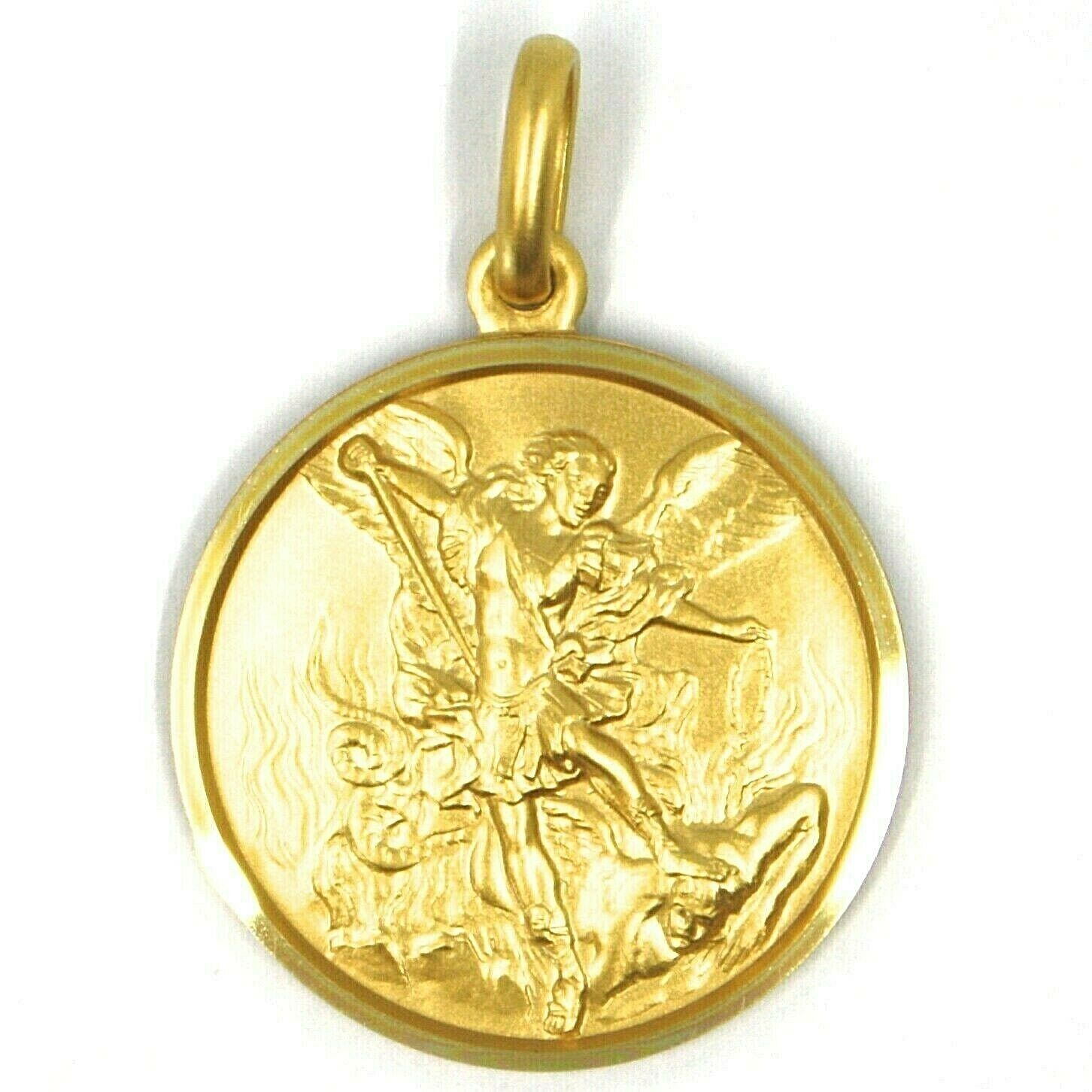 SOLID 18K YELLOW GOLD SAINT MICHAEL ARCHANGEL 23 MM MEDAL, PENDANT MADE IN ITALY