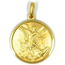 SOLID 18K YELLOW GOLD SAINT MICHAEL ARCHANGEL 23 MM MEDAL, PENDANT MADE IN ITALY image 1