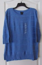 Calvin Klein  3/4 Sleeve Textured Sweater Blue Bonnet  Women's Sz M-XL NWT - $25.15