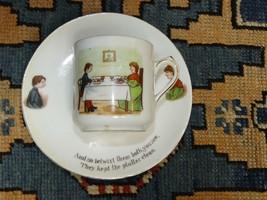 "Antique Demitasse&Saucer Jack Sprat German Bisque Hand Painted Cup ""Fat/... - $44.17"