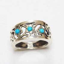 Sundance Catalog $78 Turquoise Oxidized Sterling Silver Ring Band Bright... - $43.69+