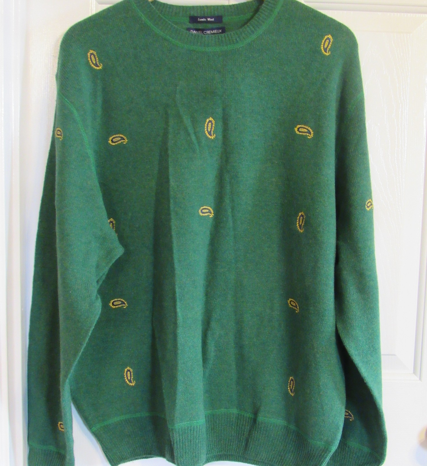 DANIEL CREMIEUX COLLECTION EMBROIDERED MEN'S XL SWEATER 100%LAMBS WOOL GREEN NEW