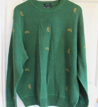 DANIEL CREMIEUX COLLECTION EMBROIDERED MEN'S XL SWEATER 100%LAMBS WOOL G... - $119.90