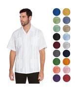 vkwear Men's Guayabera Cuban Beach Wedding Casual Short Sleeve Dress Shirt - $21.99