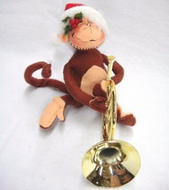 Annalee Doll Sitting Monkey with Santa Hat and French Horn Christmas 1997 USA - $14.84