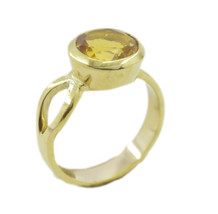 classy Citrine CZ Gold Plated Yellow Ring genuine Designer US gift - $17.99