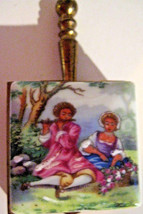 Vintage Pill Box Porcelain & Brass Shape Of A Silent Butler W/Outdoor Scene - $11.95