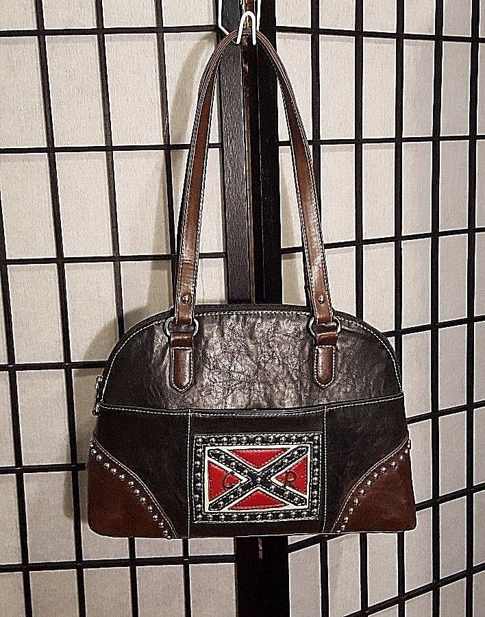Vintage Country Road Leather Purse W/Studded General Lee Dukes Of Hazard Flag image 2