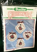 Bucilla Counted Cross Stitch Christmas Ornaments or Sachets 82630 Poinsettia USA - $13.99
