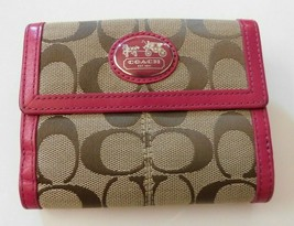 Coach Pink Leather Brown Signature Small Wallet - $38.70