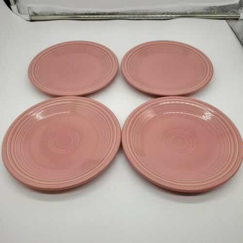 "4 Fiestaware Rose Pink 7 1/4"" Salad Plate Retired Homer Laughlin Fiesta - $29.69"