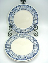 Breton Blue by Oneida Salad Dessert Plates 7 3/4in Set of 3 Blue White Scroll - $14.92