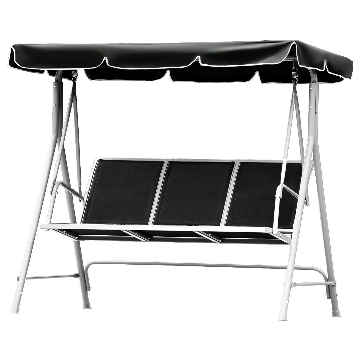 Swing With Canopy Porch Patio Bench Black Mesh Seat Heavy Duty Steel Frame Stand