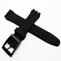 HOT! Black noir nero silicone rubber Strap fits Swatch 17mm steel clasp ... - $12.99