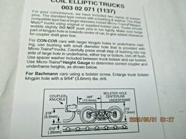 Micro-Trains Stock # 00302071 (1137) Coil Elliptic Trucks Short Extension (N) image 3