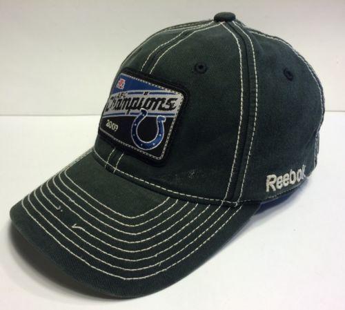 9465a119f10 ... NFL Indianapolis Colts AFC Champions 2009 Cap Hat Flexfit Reebok Adult  OSFA ...