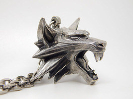 The witcher medallion pendant wolf head for necklace chain geralt of riv... - $89.00