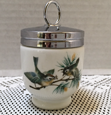 Vintage Royal Worcester Porcelain Egg Coddler // Birds Pine Cone Design England