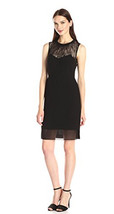 Anne Klein Women Illusion lace Sweetheart Black Sleeveless Dress Size 8 ... - $36.99
