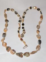 Vtg  Multi Stone Necklace, Nice  30''long - $12.16
