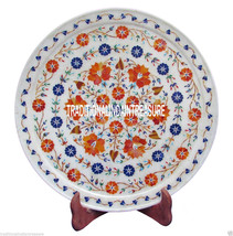 "12"" White Marble Serving Plate Hakik Inlaid Floral Work Collectible Decor Gift - $383.79"