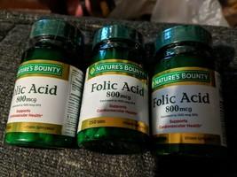 3 pack Nature's Bounty Folic Acid 800 mcg Tablets  250 ct/ea SEALED Exp 12/2023 - $18.32