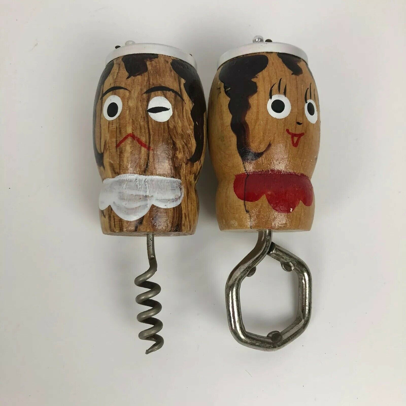 Primary image for VTG Wood Barware Man Woman Figurine Bottle Opener & Corkscrew Salt Pepper Shaker