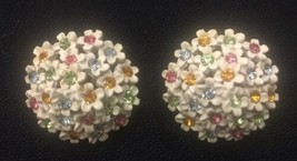 ART White Enamel With Multi Colored Rhinestone Accents Clip-On - VINTAGE - $12.16