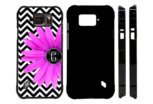 MONOGRAMMED CASE FOR SAMSUNG S4 S5 S6 S7 ACTIVE BLACK CHEVRON PURPLE FLOWER
