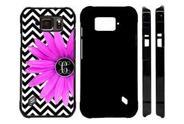 MONOGRAMMED CASE FOR SAMSUNG S4 S5 S6 S7 ACTIVE BLACK CHEVRON PURPLE FLOWER - $10.76+