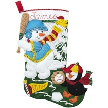 Bucilla Baseball Snowman Penguin Sport Christmas Holiday Felt Stocking Kit 86933 - $52.95
