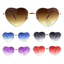 Womens Hippie Pop Color Lens Heart Shape Metal Rim Pimp Sunglasses - $9.95