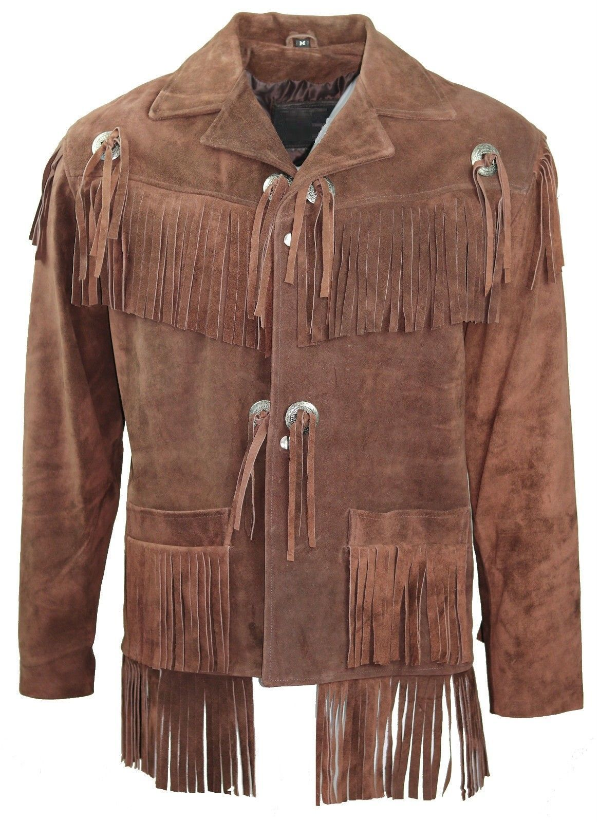 Men's New Brown Western Native American Cow Suede Leather Fringe Jacket FJ41