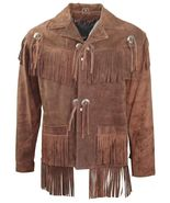 Men's New Brown Western Native American Cow Suede Leather Fringe Jacket ... - $117.00+