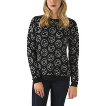 Women's M Vans Holiday Fun Guy Sweater Top Sweatshirt Black Smiley Face Nirvana - $60.31